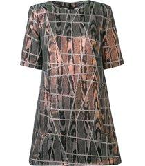 talbot runhof iridescent geometric stitched dress - pink