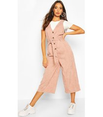 cord button front culotte pinafore jumpsuit, nude