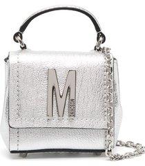 moschino micro m tote bag - silver