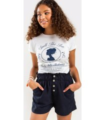 bre cinched button front shorts - navy