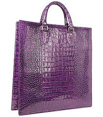 l.a.p.a. designer handbags, violet croco large tote leather handbag w/pouch