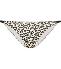 solid & striped morgan triangle leopard print bikini bottoms - black