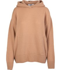 msgm woman camel-colored wool and cashmere hooded sweater
