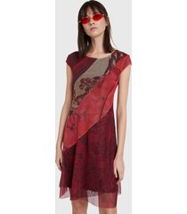 vestido desigual dress galactic jungle  rojo - calce regular
