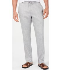 alfani men's stretch linen blend drawstring pants, created for macy's