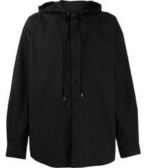 ader error oversized drawstring-hood shirt - black