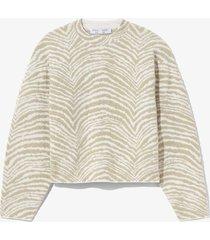 proenza schouler white label animal jacquard sweater stone/white/green s