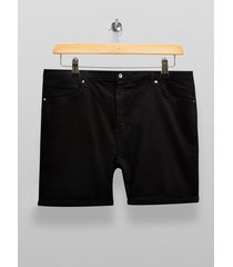 mens big black denim skinny shorts*