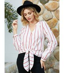 yoins blusa de manga larga con cuello de pico a rayas blancas