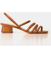 sandalia tacón doral de cuero para mujer correas delgadas