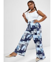 plus size ruched sleeveless top and paisley patchwork print wide leg pants