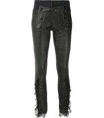 andrea bogosian lace skinny trousers - black