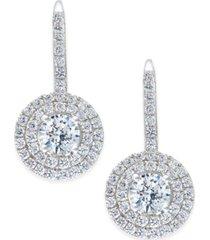 arabella swarovski zirconia circle cluster drop earrings in sterling silver, created for macy's