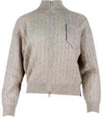 brunello cucinelli zip-up cardigan sweater with lurex braids and jewels threads