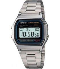 reloj casio a_158wa_1 plateado acero inoxidable
