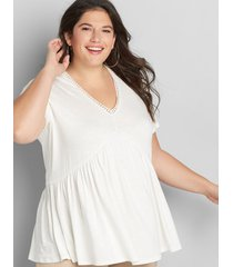 lane bryant women's embroidered babydoll max swing tee 38/40 ivory