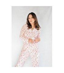 pijama adulto feminino longo aberto liganete estampado salmáo estrelas