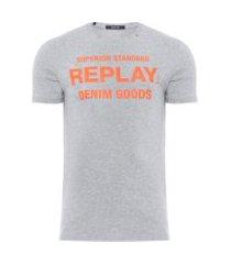 t-shirt masculina com silk fluór - cinza
