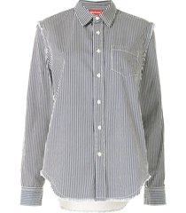 denimist distressed vertical-stripe shirt - blue