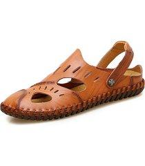 sandali da allacciamento per uomo di grandi dimensioni con cuciture a mano