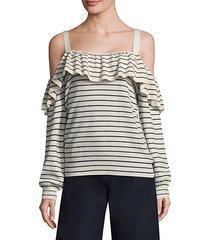 delbin striped cold-shoulder sweater