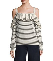 delbin striped cold-shoulder sweater