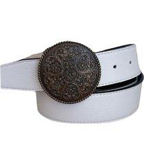 cinturón cuero blanco hebilla redonda mandala mf cueros