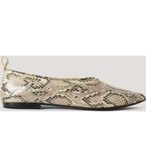 na-kd shoes pointy leather ballerinas - multicolor