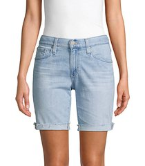relaxed skinny denim shorts