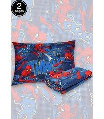 jogo de cama 2pçs solteiro lepper spider man azul