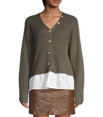 70/21 women's v-neck long-sleeve cardigan - green - size m