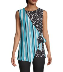 diane von furstenberg women's striped & floral asymmetrical wrap top - waves stripes - size m