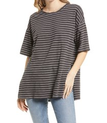 women's treasure & bond women's stripe t-shirt, size large - black