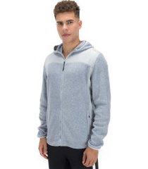 jaqueta de frio fleece com capuz oxer custom - masculina - cinza claro
