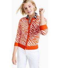 charter club zebra-print cardigan sweater, created for macy's