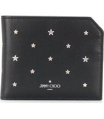 jimmy choo star-studded logo-print wallet - black