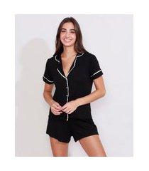 pijama feminino camisa manga curta com vivo contrastante preto