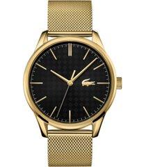 lacoste men's gold-plated steel mesh bracelet watch 42mm