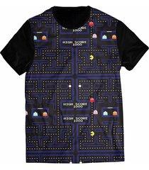 camiseta elephunk estampada geek pacman atari tumblr preta - kanui