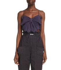 women's isabel marant linece butterfly crinkle cotton & silk crop top, size 8 us - grey