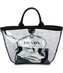 prada sheer logo tote bag - black