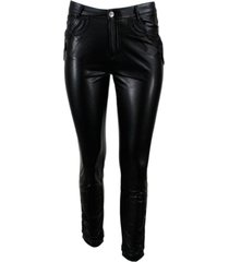 ermanno scervino slim faux leather trousers with embossed inserts