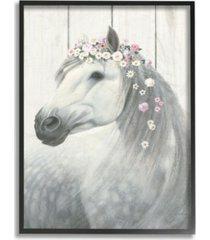 "stupell industries spirit stallion horse with flower crown framed giclee art, 11"" x 14"""