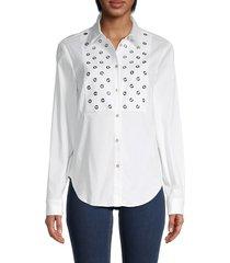 redvalentino women's grommet-yoke shirt - white - size 40 (8)