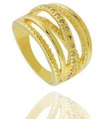 anel dona diva semi joias largo faixas dourado