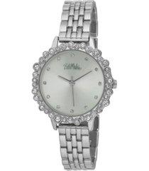 bob mackie women's silver-tone alloy bracelet crystal bezel watch, 31mm