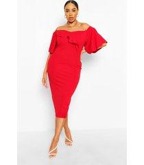 plus bardot cape sleeve midi dress, red
