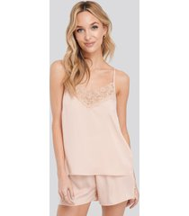 na-kd lingerie lace edge night satin singlet - pink