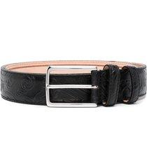 etro textured paisley-pattern belt - black