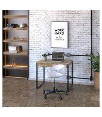 mesa de escritório kuadra 2 gv carvalho 90 cm